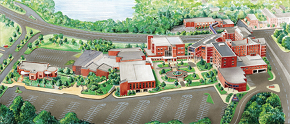 Illustrated map of Schenectady County Community College.